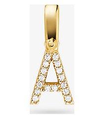 mk ciondolo alphabet in argento sterling placcato oro 14k con pavé - oro (oro) - michael kors