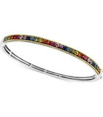 effy multi-sapphire bangle bracelet (2-3/4 ct. t.w.) in sterling silver & 18k gold