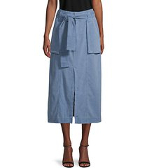 catching feelings midi denim skirt