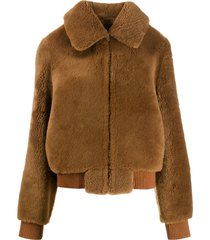 liska fluffy jacket - brown
