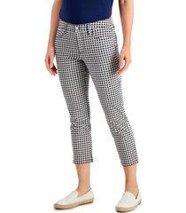 charter club gingham tummy control capri pants, created for macy's