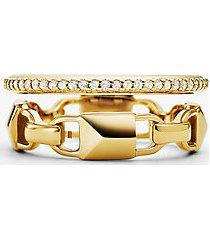 mk anello in argento sterling placcato in metallo prezioso con aureola e pavé mercer link - oro (oro) - michael kors