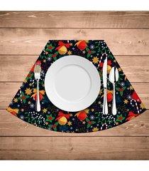 jogo americano para mesa redonda wevans elementos natalinos coloridos kit com 4 pçs