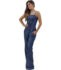 macacão jeans zayon flare azul - feminino