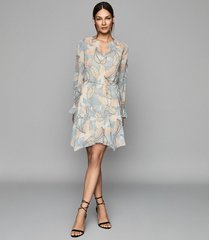 reiss dara - leaf printed shift dress in blue, womens, size 12