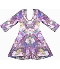 vestido estampado manga 3/4 sarab estampado multicolor