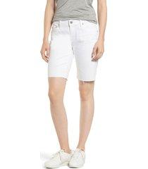 women's ag nikki denim bermuda shorts, size 25 - white