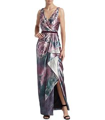 draped metallic floral gown