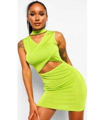 getextuurde strakke mini jurk met gekruiste top, lime