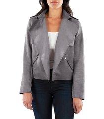 women's kut from the kloth jacee draped moto jacket, size x-large - grey