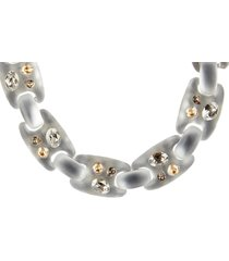 women's alexis bittar future antiquity crystal stud soft link necklace
