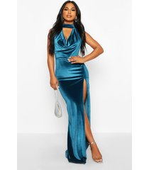 halter neck velvet backless maxi dress, teal