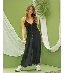 vestido adrissa negro fresco con escote espalda