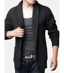 cardigan in cotone spesso tinta unita con collo alto trundown in lana da uomo