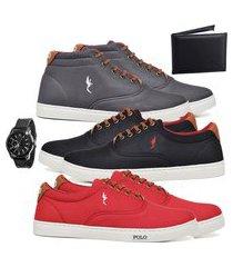 kit 3 pares sapatênis polo blu casual cano alto e cano baixo cinza/preto/vermelho acompanha carteira + relógio