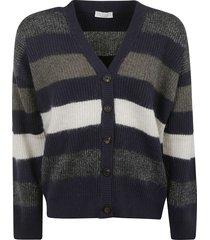 brunello cucinelli stripe knit cardigan