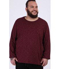 camiseta masculina plus size básica com bolso manga longa gola careca vinho