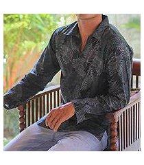 men's cotton batik long sleeve shirt, 'tropic breeze' (indonesia)