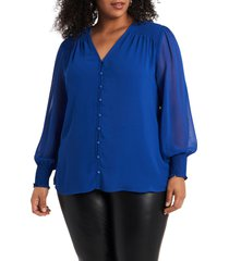 plus size women's 1. state ruffle cold-shoulder georgette top, size 1x - blue