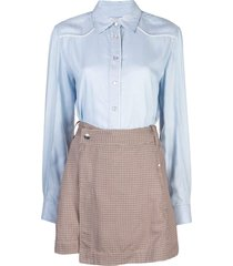 derek lam 10 crosby shirt and skirt wrap dress - blue
