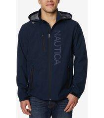 nautica men's logo-print full-zip hooded windslicker