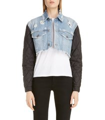 women's givenchy quilted sleeve destroyed denim jacket