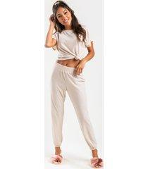 women's gemma lounge pants in beige by francesca's - size: l