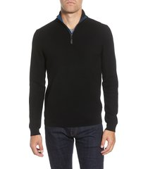 men's ted baker london tunnel slim fit textured quarter zip sweater, size 7(3xl) - black