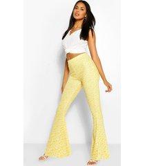 jersey bloemenprint broek met wijde pijpen, geel