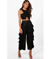 ruffle side woven wide leg culottes, black