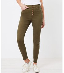 loft petite high rise button front skinny jeans in vintage olive