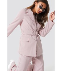 na-kd classic wide belted blazer - pink