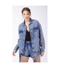 jaqueta com foil costas a jeans medio