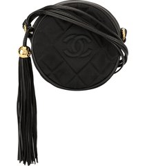 chanel pre-owned 1989-1991 quilted round fringe crossbody bag - black