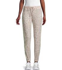 vintage havana women's striped leopard jogging pants - tan leopard - size s
