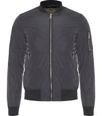 jaqueta masculina zíper braço nylon - preto