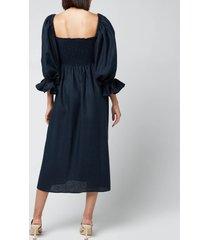 sleeper women's atlanta linen dress - navy - xs