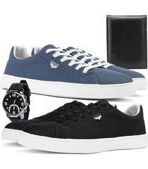 kit 2 pares de sapatãªnis skateboard sapatofran casual azul e preto com relã³gio e carteira - azul marinho - masculino - lona - dafiti