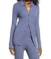 women's open edit ribbed button-up cardigan, size xx-small - blue