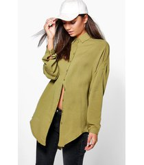 tall oversized linnen look blouse, olive