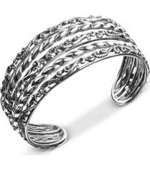 carolyn pollack multi-row openwork swirl cuff bracelet in sterling silver
