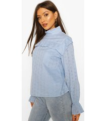broderie anglaise frill blouse, powder blue