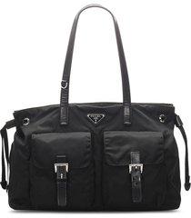 prada pre-owned triangle logo tote bag - black