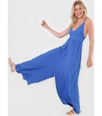 macacã£o oh, boy! pantalona recortes azul - azul - feminino - viscose - dafiti