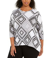 alfred dunner plus size riverside drive diamond dot top