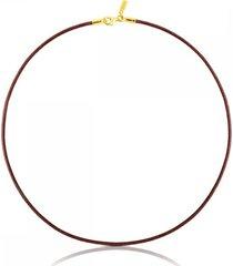 cadena tous chokers de cuero en color marrón