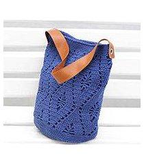 cotton bucket bag, 'diamond crochet in indigo' (brazil)