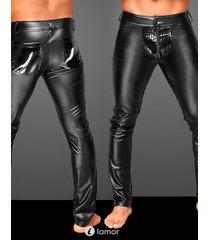 * noir handmade wetlook heren broek met pvc delen