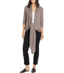women's loveappella drape tie front cardigan, size x-small - brown
