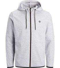 sweater jack & jones 12179262 jwhmonopoly sweat zip hood light grey mela/reg